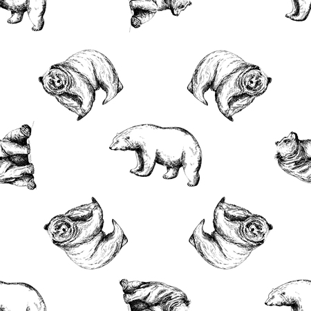 Seamless pattern of hand drawn sketch style bears isolated on white background. Vector illustration. Çizim