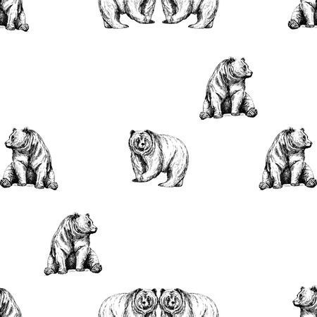 Seamless pattern of hand drawn sketch style bears isolated on white background. Vector illustration. Иллюстрация