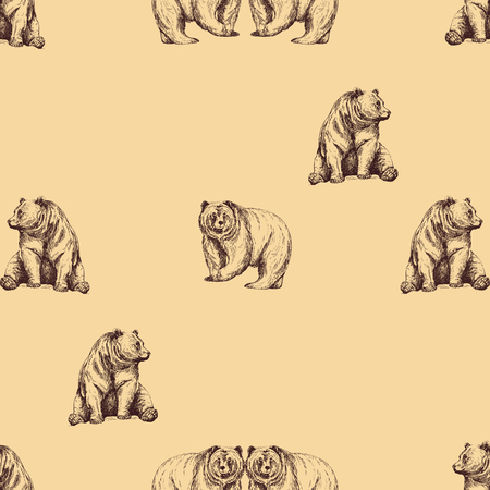 Seamless pattern of hand drawn sketch style bears. Vector illustration.