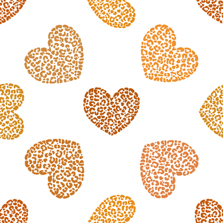 Seamless pattern of hand drawn sketch style hearts with leopard texture isolated on white background. Vector illustration. Ilustração