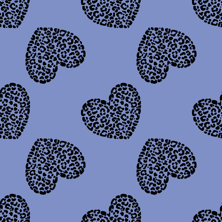 Seamless pattern of hand drawn sketch style hearts with leopard texture. Vector illustration.