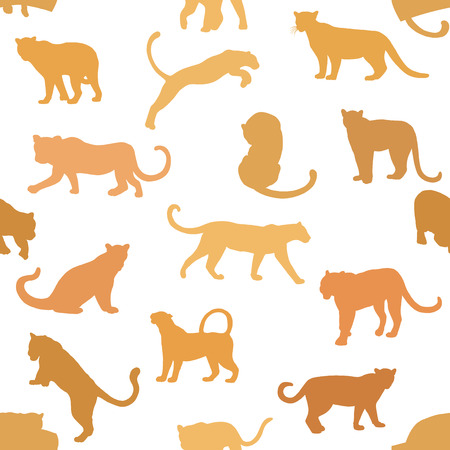 Seamless pattern of hand drawn sketch style silhouettes of leopards isolated on white background. Vector illustration. Иллюстрация