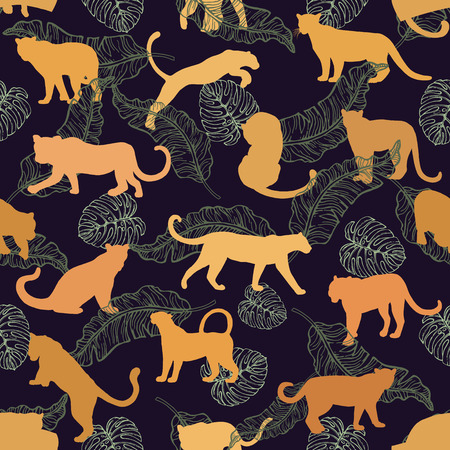 Seamless pattern of hand drawn sketch style silhouettes of leopards. Vector illustration.
