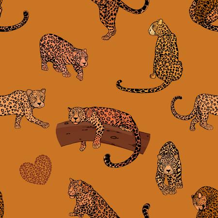 Seamless pattern of hand drawn sketch style leopards. Vector illustration. Иллюстрация