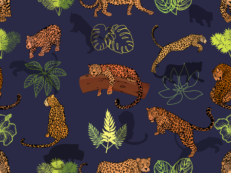 Seamless pattern of hand drawn sketch style leopards and tropical plants. Vector illustration.