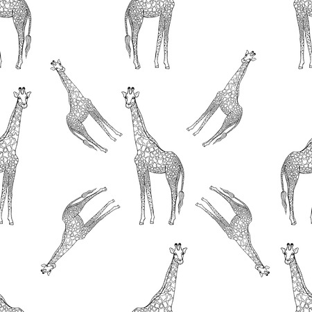 Seamless pattern of hand drawn sketch style giraffes isolated on white background. Vector illustration. Imagens - 124415947