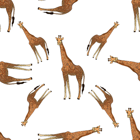 Seamless pattern of hand drawn sketch style giraffes isolated on white background. Vector illustration.