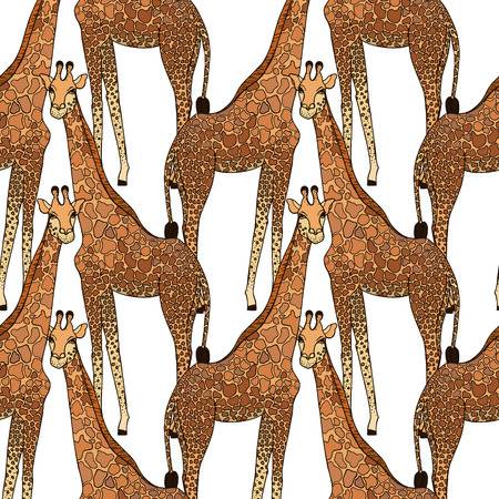 Seamless pattern of hand drawn sketch style giraffes. Vector illustration.