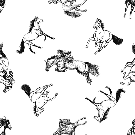 Seamless pattern of hand drawn sketch style horses and jockeys on a horses. Vector illustration isolated on white background.
