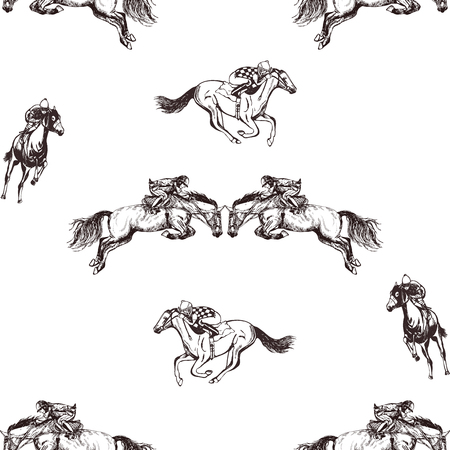 Seamless pattern of hand drawn sketch style jockeys on a horses. Vector illustration isolated on white background.
