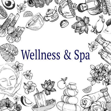 Composition de carte d'affiche d'objets sur le thème du spa de jour de style croquis dessinés à la main isolés sur fond blanc. Illustration vectorielle.
