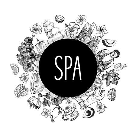 Poster card composition of hand drawn sketch style day spa themed objects isolated on white background. Vector illustration.