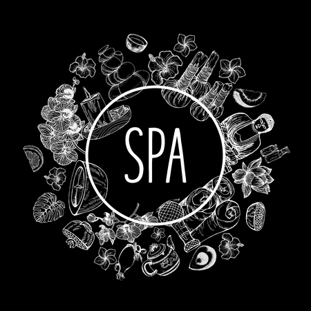 Poster card composition of hand drawn sketch style day spa themed objects isolated on black background. Vector illustration.