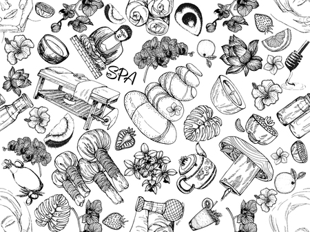 Seamless pattern of hand drawn sketch style day spa themed objects isolated on white background. Vector illustration.