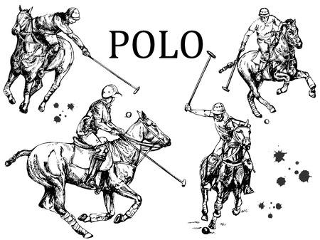 Satz Hand gezeichnete Skizzenart abstrakte Polospieler lokalisiert auf weißem Hintergrund. Vektor-Illustration. Vektorgrafik