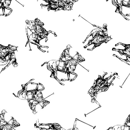 Seamless pattern of hand drawn sketch style abstract polo players isolated on white background. Vector illustration.