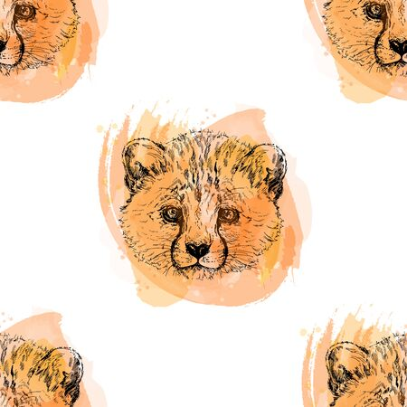 Hand drawn sketch style portraits of cheetah isolated on white background. Vector illustration.