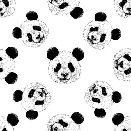 Seamless pattern of hand drawn sketch style portraits of giant panda isolated on white background. Vector illustration.