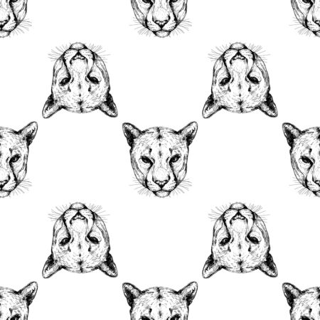 Seamless pattern of hand drawn sketch style portraits of puma isolated on white background. Vector illustration.