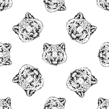 Seamless pattern of hand drawn sketch style portraits of snow leopard isolated on white background. Vector illustration.