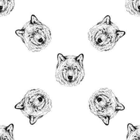 Seamless pattern of hand drawn sketch style portraits of wolf isolated on white background. Vector illustration. Çizim