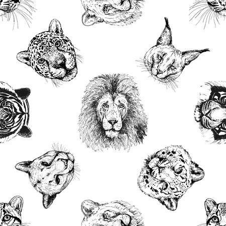 Seamless pattern of hand drawn sketch style portraits of animals isolated on white background. Vector illustration.