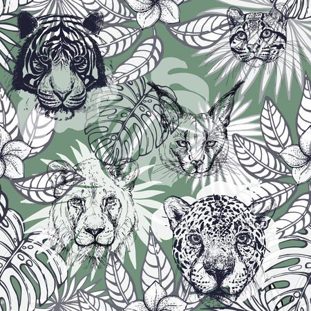 Seamless pattern of hand drawn sketch style isolated wild animals and tropical plants. Vector illustration. Çizim