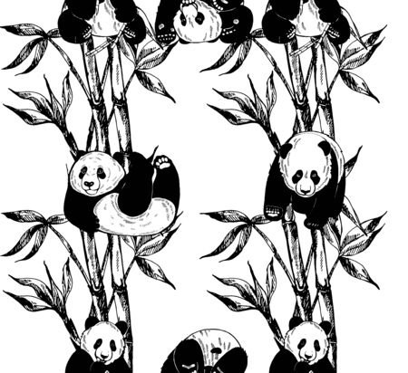 Seamless pattern of hand drawn sketch style pandas and bamboo stems with leaves isolated on white background. Vector illustration. Иллюстрация