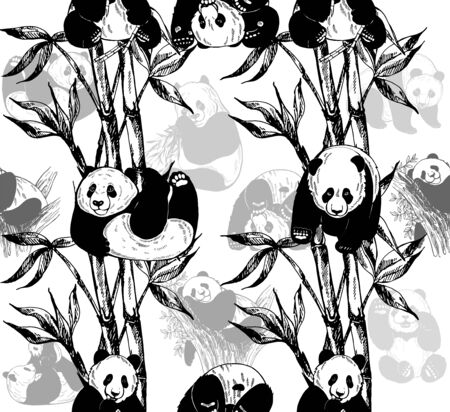 Seamless pattern of hand drawn sketch style pandas and bamboo stems with leaves isolated on white background. Vector illustration. Çizim