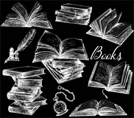 Set of hand drawn sketch style books, feather pen and pocket watch isolated on black background. Vector illustration.
