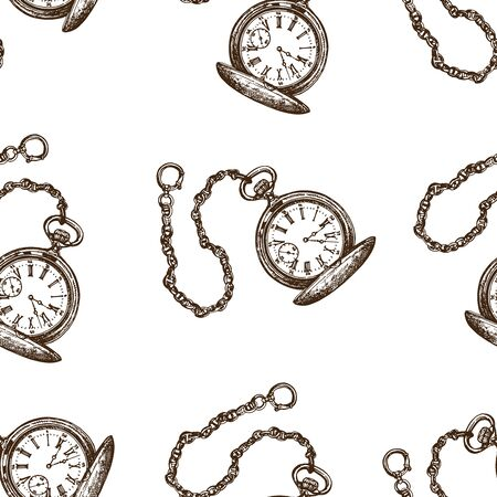 Seamless pattern of hand drawn sketch style pocket watches isolated on white background. Vector illustration. Çizim