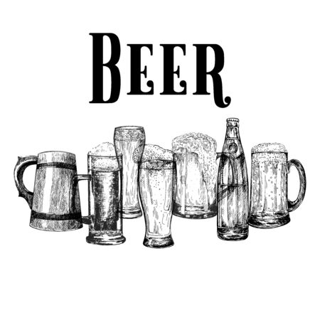 Set of hand drawn sketch style beer mugs with bottle isolated on white background. Vector illustration.