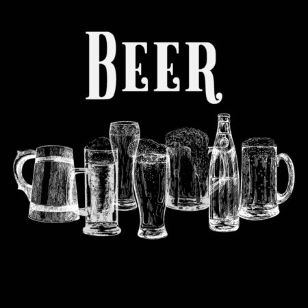 Set of hand drawn sketch style beer mugs with bottle isolated on black background. Vector illustration.