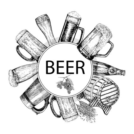 Postercard composition of hand drawn sketch style beer related objects isolated on white background. Vector illustration.
