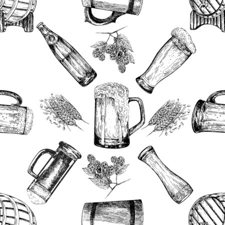 Seamless pattern of hand drawn sketch style beer mugs, bottles, barrels with malt and hops isolated on white background. Vector illustration.