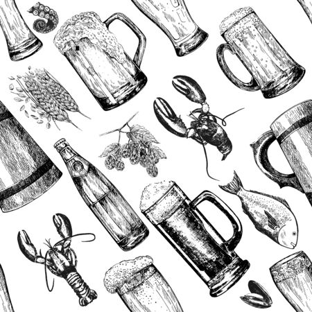 Seamless pattern of hand drawn sketch style beer related objects isolated on white background. Vector illustration. Çizim