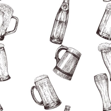 Seamless pattern of hand drawn sketch style beer mugs with bottles isolated on white background. Vector illustration.