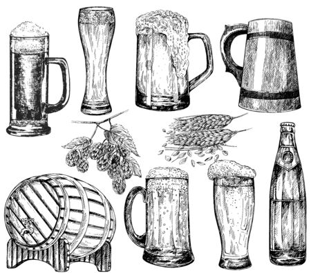 Set of hand drawn sketch style beer mugs, bottle, barrel with malt and hops isolated on white background. Vector illustration.