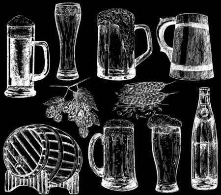 Set of hand drawn sketch style beer mugs, bottle, barrel with malt and hops isolated on black background. Vector illustration.