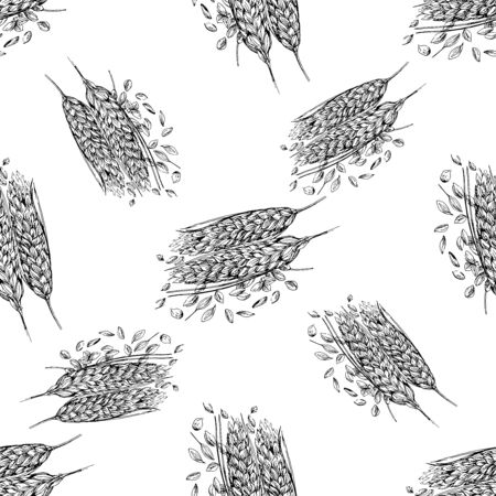 Seamless pattern of hand drawn sketch style cereals isolated on white background. Vector illustration. Çizim