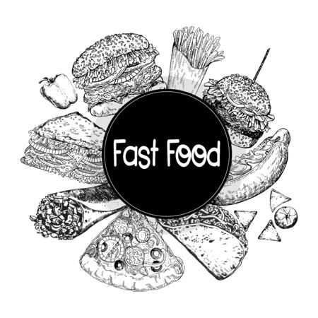 Poster  card composition of hand drawn sketch style fast food isolated on white background. Vector illustration.