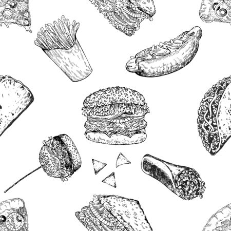 Seamless pattern of hand drawn sketch style fast food isolated on white background. Vector illustration.