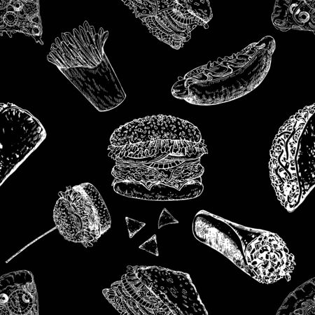 Seamless pattern of hand drawn sketch style fast food isolated on black background. Vector illustration. Çizim