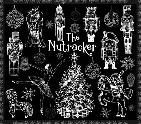 Big set of hand drawn sketch style characters and different objects related to The Nutcracker fairy tale isolated on black background. Vector illustration.