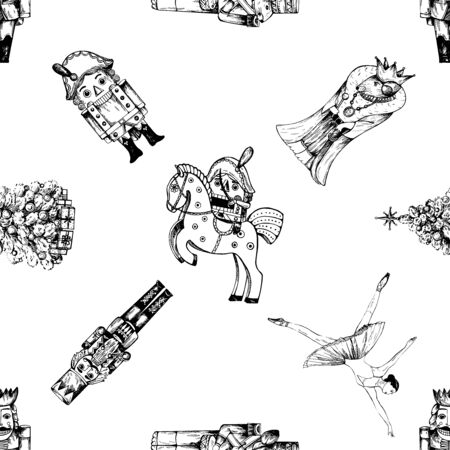 Seamless pattern of hand drawn sketch style characters and different objects related to The Nutcracker fairy tale isolated on white background. Vector illustration.