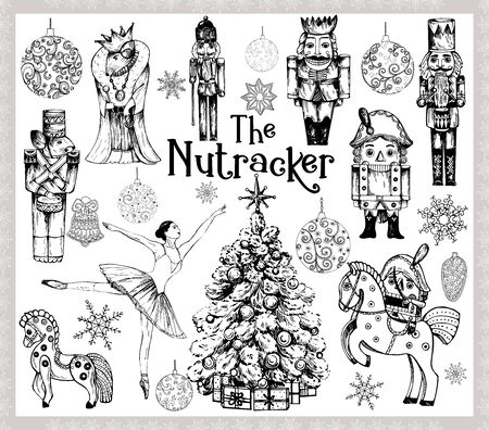Big set of hand drawn sketch style characters and different objects related to The Nutcracker fairy tale isolated on white background. Vector illustration. Çizim