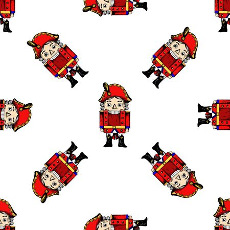 Seamless pattern of hand drawn sketch style colored Nutcracker character isolated on white background. Vector illustration.