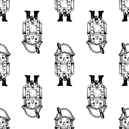 Seamless pattern of hand drawn sketch style Nutcracker character isolated on white background. Vector illustration.
