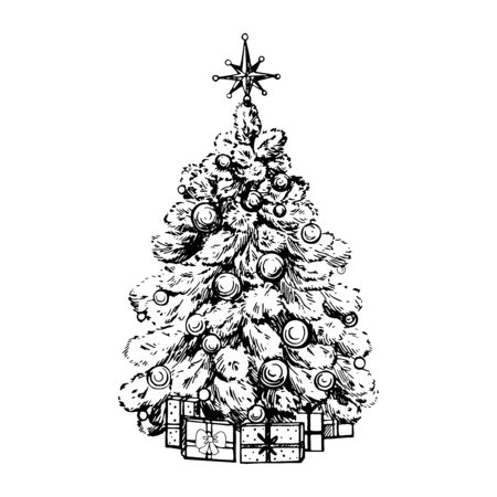 Hand drawn sketch style Christmas tree isolated on white background. Vector illustration. Çizim