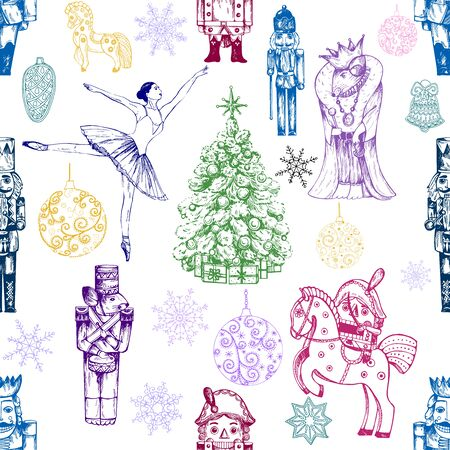 Seamless pattern of hand drawn sketch style colored characters and different objects related to The Nutcracker fairy tale isolated on white background. Vector illustration. Иллюстрация